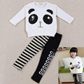 2016 Fashion Girls Two-piece Suit Lovely Panda Suit Toddler Infant Outfits Panda Coat + Striped Pants Kids Clothes Set Gift