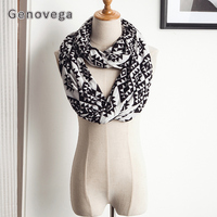 Genovega Pocket Scarf Women Autumn Winter Warm Infinity Scarf All Match Ladies Ring Scarves Loop Stripe