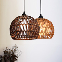 Hemp Rope LED Pendant Light Vintage Nordic Loft Lamp Indoor Round Country Style Modern Creative Kitchen Home Lighting Art Decor