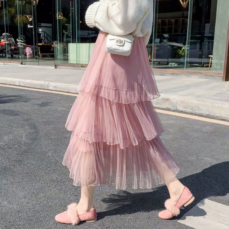 2020 Summer New Sweet Cake Layered Long Mesh High Waist Ruffled Vintage Tiered Tulle Pleated Princess Skirts