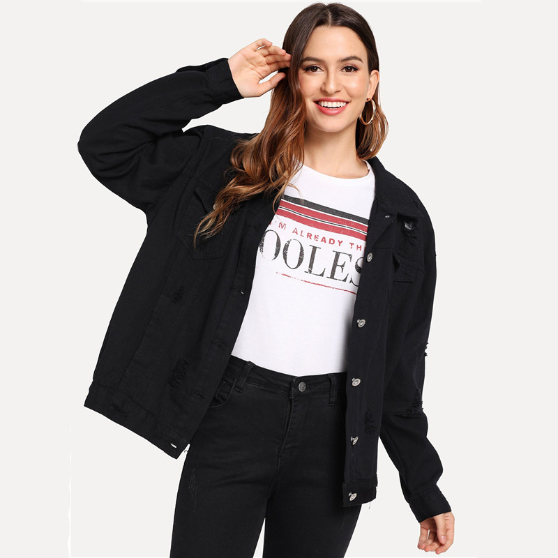 COLROVIE Ripped Drop Shoulder Women Denim Jackets Black White Oversize Purple Casual Female Jacket Coat Chic Jacket for Girls 19