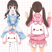 Kawaii Japanese Lolita Girls Cute Lop ear Rabbit Bunny Bowknot Plush Shoulder Hand Bag School Bag White