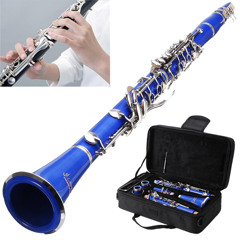 1Set 17 Key Nickel Plated Muticolor Clarinet with Reed Mouthpiece Case Cover Box For Woodwind Musical Instruments Lover Beginner bb f tenor trombone lacquer brass body with plastic case and mouthpiece musical instruments