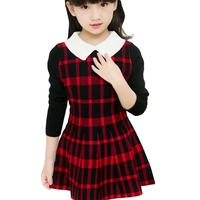 Kids Girls Plaid Dress 2016 New Casual Red Black Plaid Dress European Style Long Sleeve Winter Knit Frocks For 4 13 Years GD62