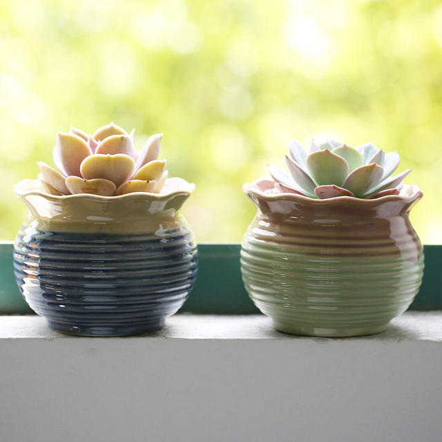 US $10 9 |Desktop Mini Ceramic Flower Pots Garden Supplies Pastoral Glazed  Flowerpots Wholesale Price Not Including The Planter Creative-in Flower