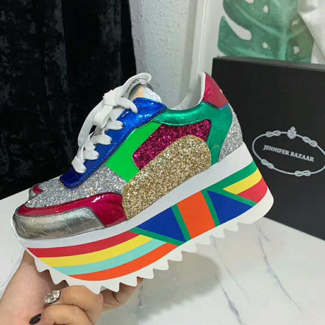 Mezclado Caliente Mujeres Perfetto Las Blingbling Fondo Zapatos Grueso Mixed Señoras De Color 2019 pink Deporte Zapatillas Plataforma Color Lentejuelas Prova qEPnzCwq