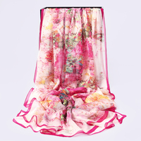 2017 New Fashion Large Size 100 Silk Scarf Luxury Brand Thin Chiffon Women Scarves Pink Floral