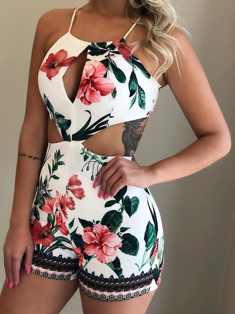 2019 Summer Holiday Leisure Vacation Elegant Casual Playsuit Female Stylish Jumpsuits Tropical Print Halter Cutout Romper