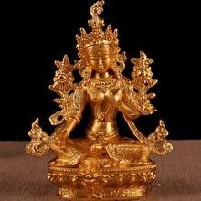 Tibetan Buddhist Supplies High Grade Nepal Craft 6 Inches Gilt Green Tara Figure of Buddha Save Bodhisattva Temple Figurine