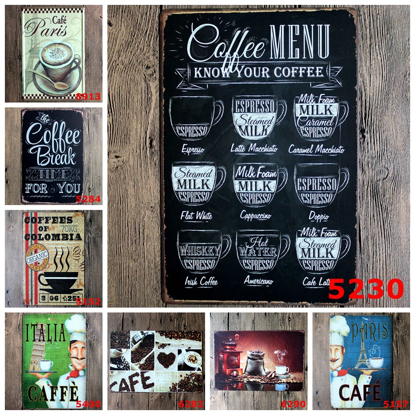 Coffee Shop Retro Metal Tin Sign Posters Vintage Kitchen Cafe Bar Wall Art Decor