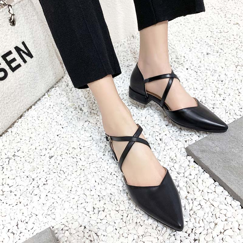 2019 AME Shoes Low Heels Square Heel Flats Buckle Strap Style Black Beige Color Sandals 11811AJS2006 in Women 39 s Flats from Shoes
