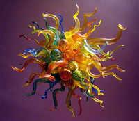 Modern Rodada Multicolor Cor Led Souce Luz Mão Lustre De Vidro Soprado Para Casa DIY Villa Lustres de Decoração Artística