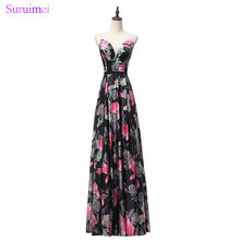 Long Evening Dress Floral Printed Pageant Gowns Sweetheart Floor Length Party Vestido De Festa Special Occasion(China)