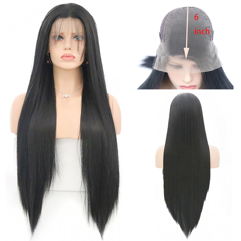 Charisma Black Wig 13x6 Deep Part Glueless Synthetic Lace Front Wig with Baby Hair Heat Resistant