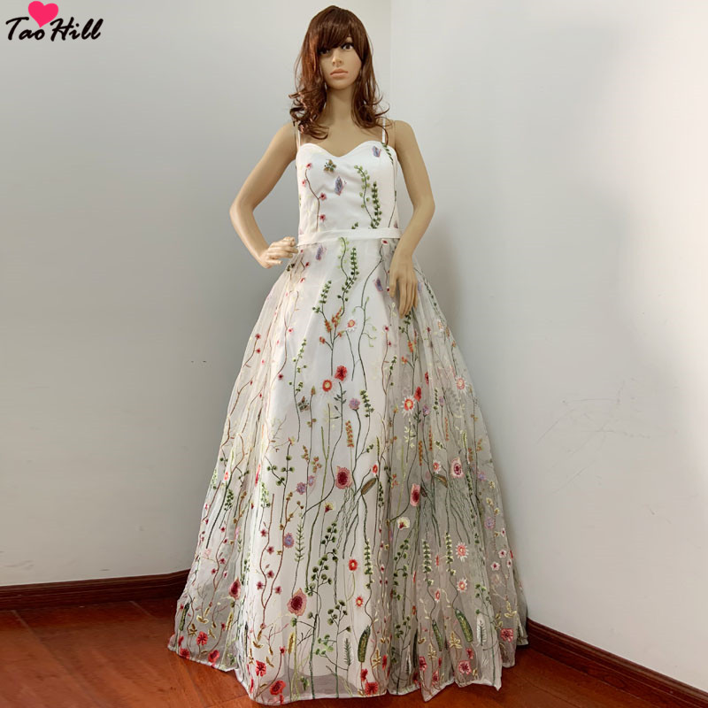 TaoHill Party Occasion Formal Long Evening Dress A line Spaghetti Sweetheart Neck Flower Printed Evening Party Gown