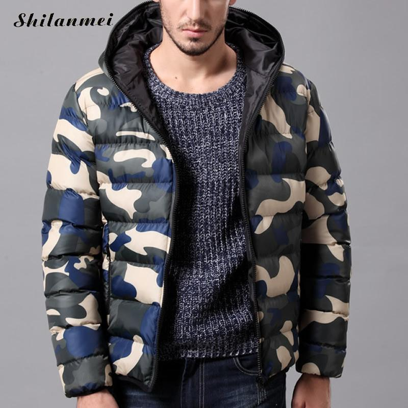MenS Winter Jacket Warm Camouflage Jackets Down Parkas Men Padded Hooded Overcoat Causal Thick Parka Men Outwear Plus Size 3xl