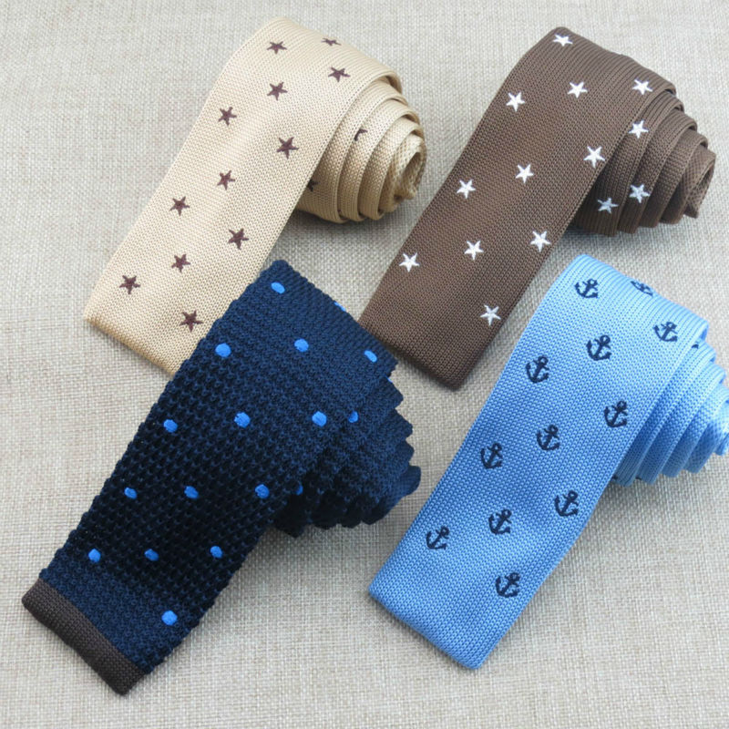 (1 pieces/lot)new pattern pentagram knitted tie Mens fashion special pattern design flat narrow tie free shipping