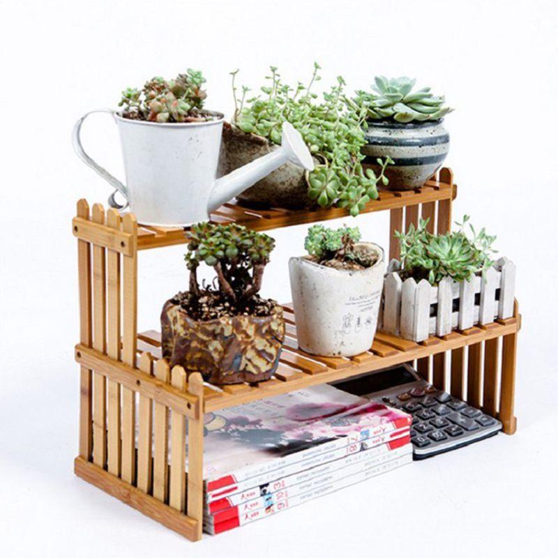 Shelves Flower Garden Wooden Rack Stand Flower Display Stand Bamboo Wood Display Stand Shelf Storage Rack Holder