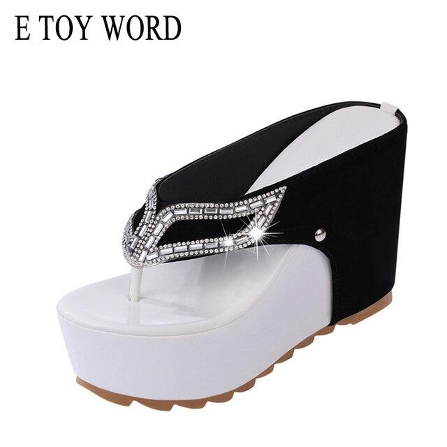94005267ada996 E TOY WORD Brand women shoes Thick bottom Platform Flip flops Rhinestone  Wedge Heel Patchwork Women Summer Sandals