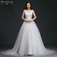 MisShow 2018 Simple Ball Gown Lace Wedding Dress Customized Plus Size Sleeveless Bridal Dress 2 Colors