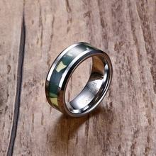 Free Custom Engraving 8mm Beveled Edge with Army Green Camouflage Inlay Tungsten Carbide Wedding Rings