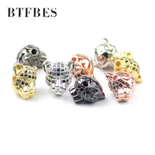 BTFBES DIY Metal copper beads handmade green eyes zircon leopard head jewelry for mens bracelet Accessory Womens earring