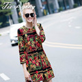 High quality puls size fahsion runway women trench coat 2015 autumn and winter  3/4 sleeve vintage royal embroidery coat female