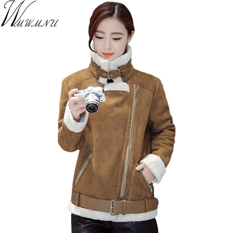 Wmwmnu 2017 autumn winter women suede leather jacket coat fashion Lambs wool women outwear casual High quality short parkas s541