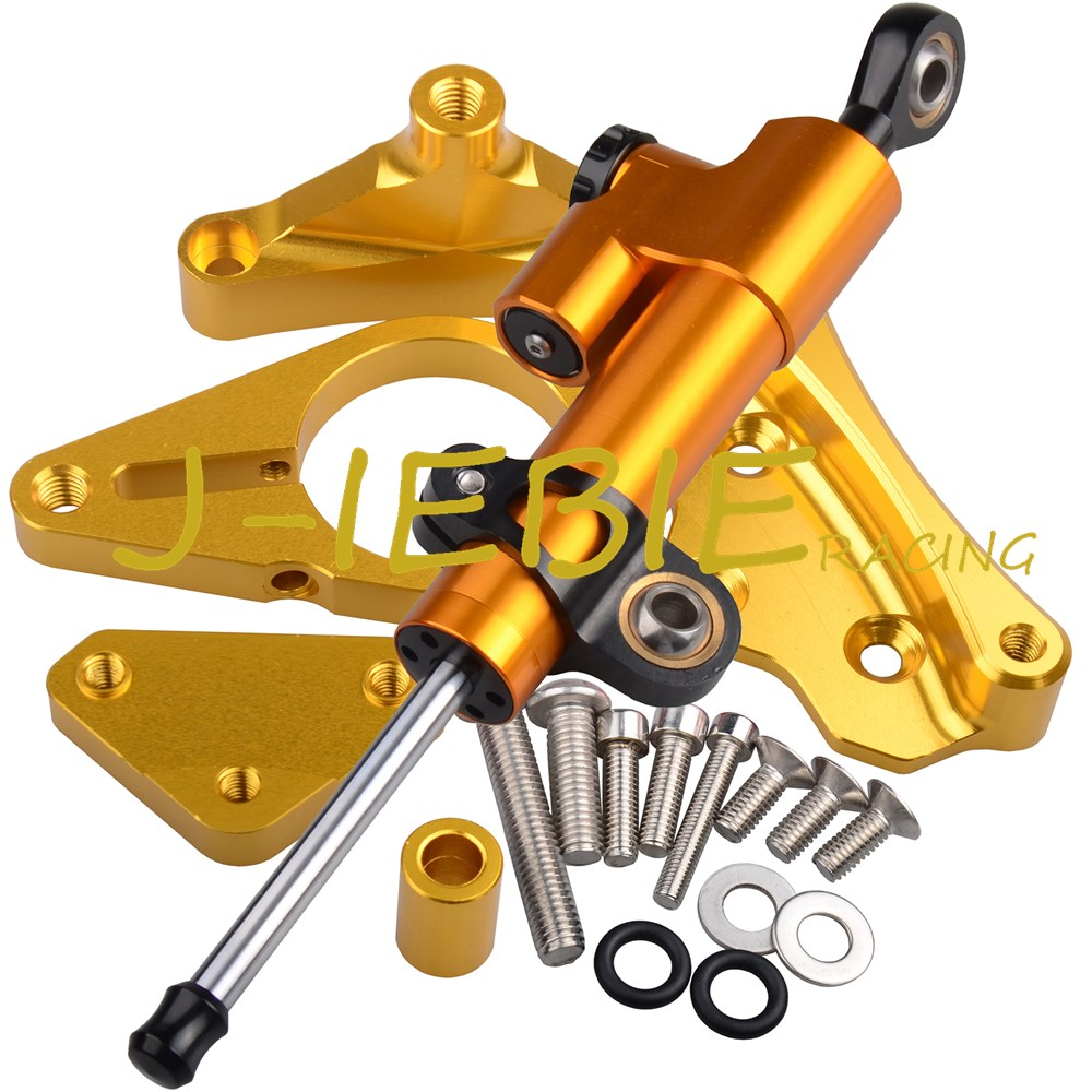 CNC Steering Damper Stabilizer and Gold Bracket Mounting For Honda CBR650F CBR650 CBR 650 F 2014-2016 2015 стоимость