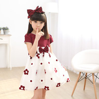 New Brand Baby Girls Dress 2017 Summer Korean Fashion Knee Length Clothing Kids Casual Solid Flower