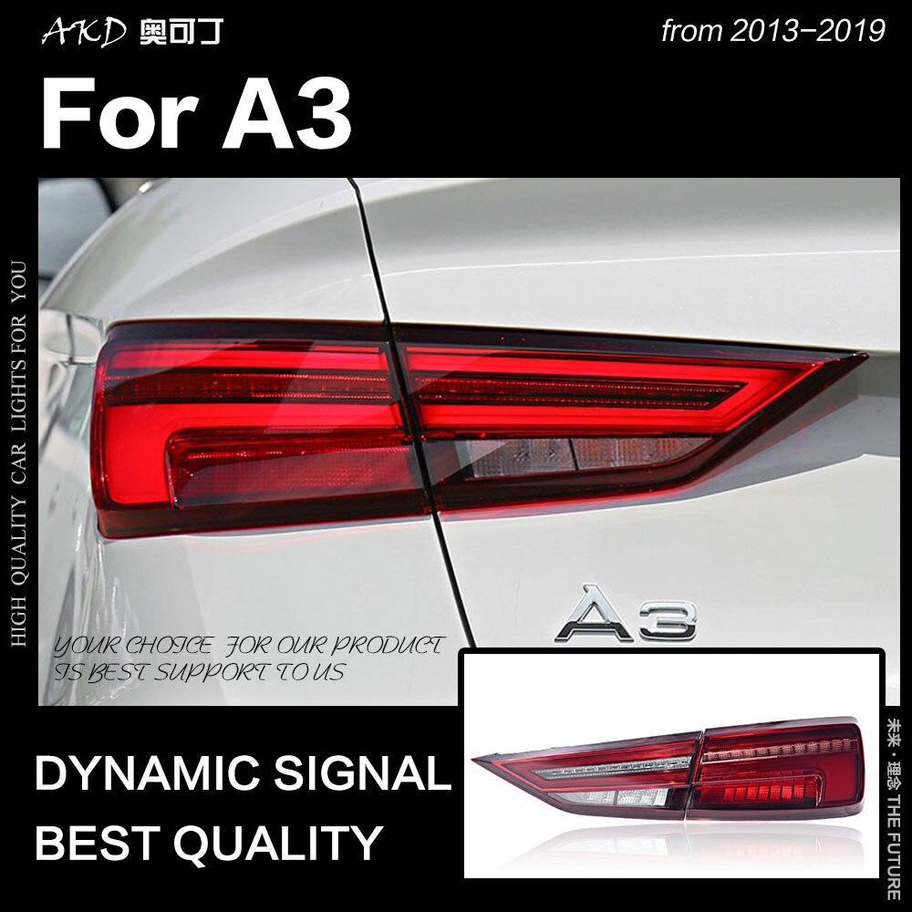 Styling de Carro para Audi A3 AKD Luzes Da Cauda 2013-2019 A3 CONDUZIU A Lâmpada de Cauda LEVOU DRL Sinal de Freio Dinâmico reversa auto Acessórios