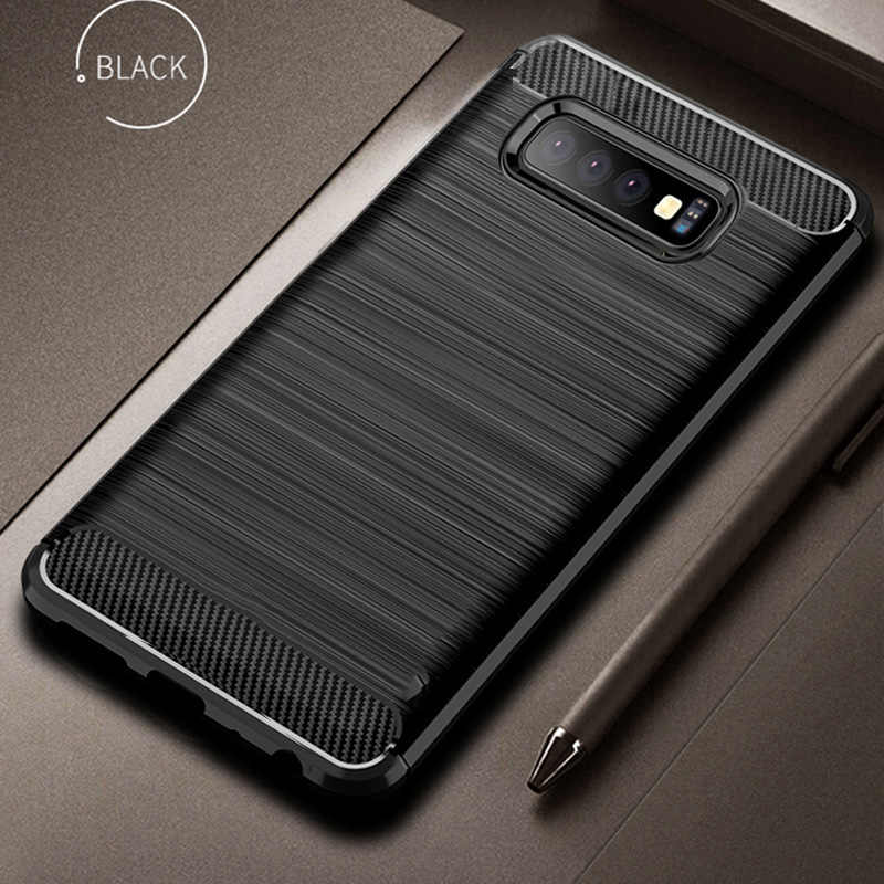 For Samsung Galaxy S10 Plus Case Carbon Fiber Cover Full Protection Phone Case For Galaxy S 10 S10+ S10e Cover Shockproof Bumper
