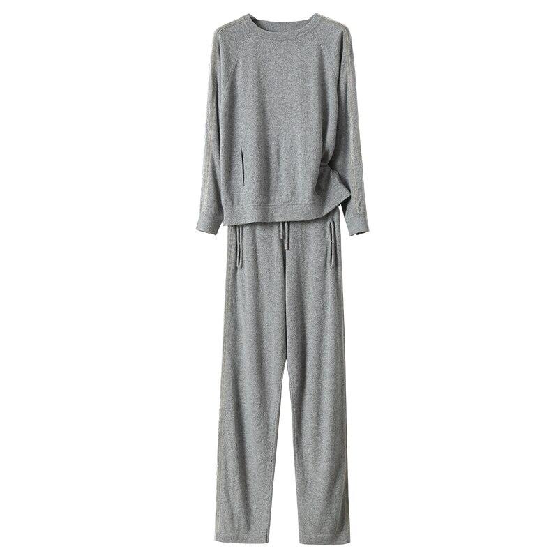 L'industrie Vison Pantalon Deux Base Pull Velours Nouveau De Mode Cachemire Gris En Lourde Ensembles 2018 Femmes Tricoté Costume wx0IOqg7