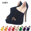 Fashion Flock Pumps Women Shoes Sexy Stilettos Velvet High Heels Sandals Peep Toe Party Wedding Pumps