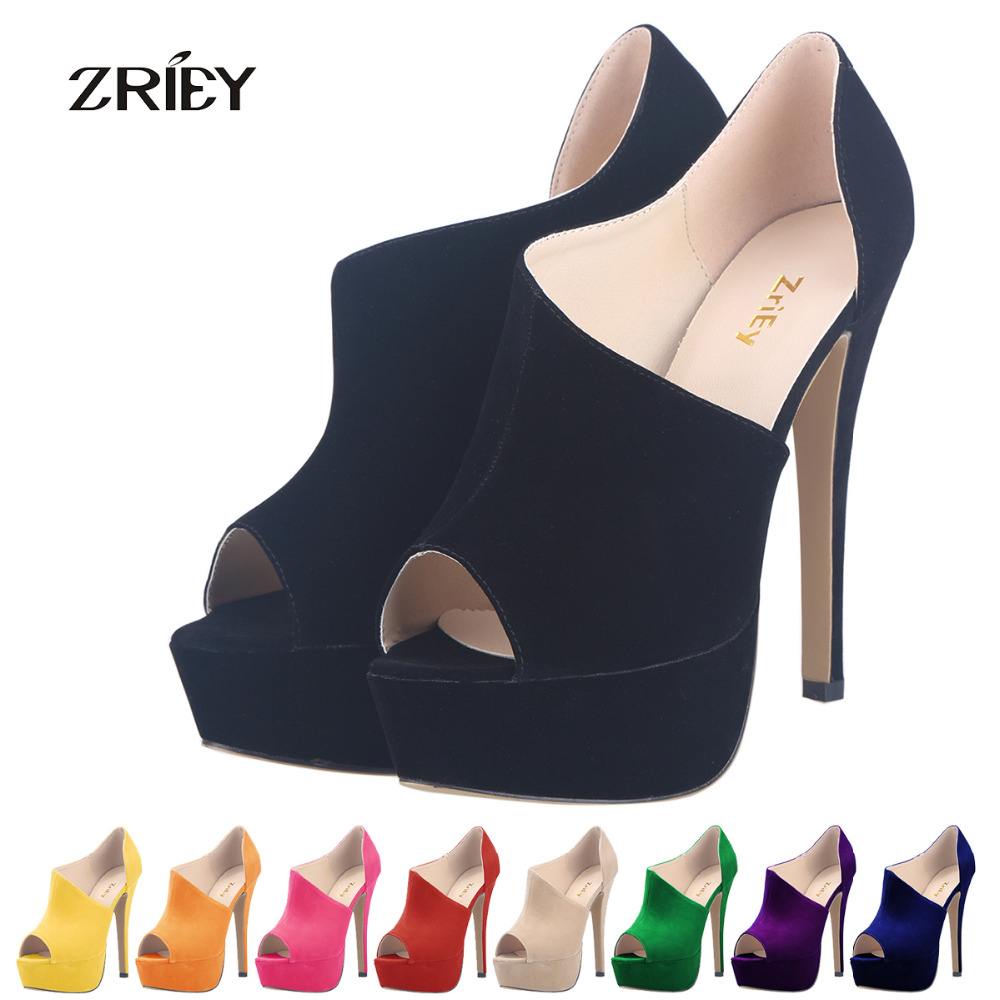 Fashion Flock Pumps font b Women b font Shoes Sexy Stilettos Velvet High Heels Sandals Peep