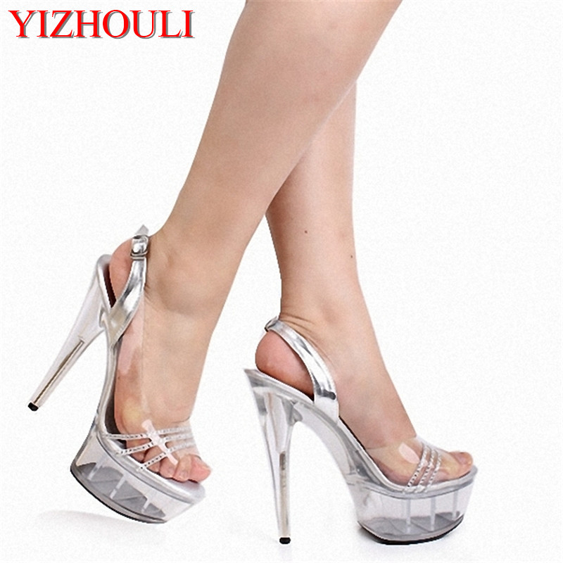 Heels 15cm Ultra-high With Sexy Love Crystal Ultra High Heels Stage Superfine Sandals Preferential Price
