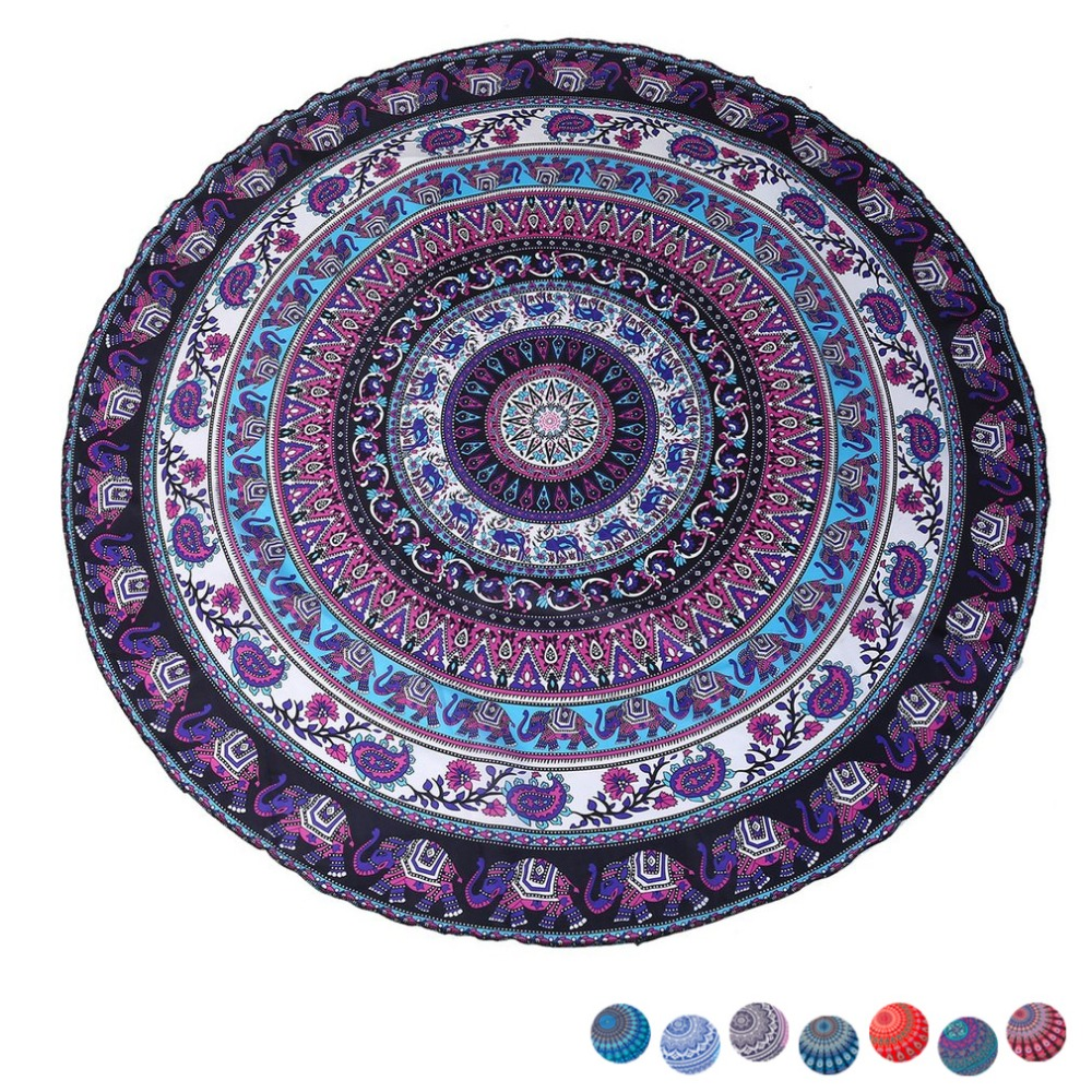 8 farben Sommer Strand Indische Mandala Tapisserie Pfau Gedruckt Handtuch Yoga Matte Sonnencreme Runde Bikini Abdeckung-Up Decke Werfen