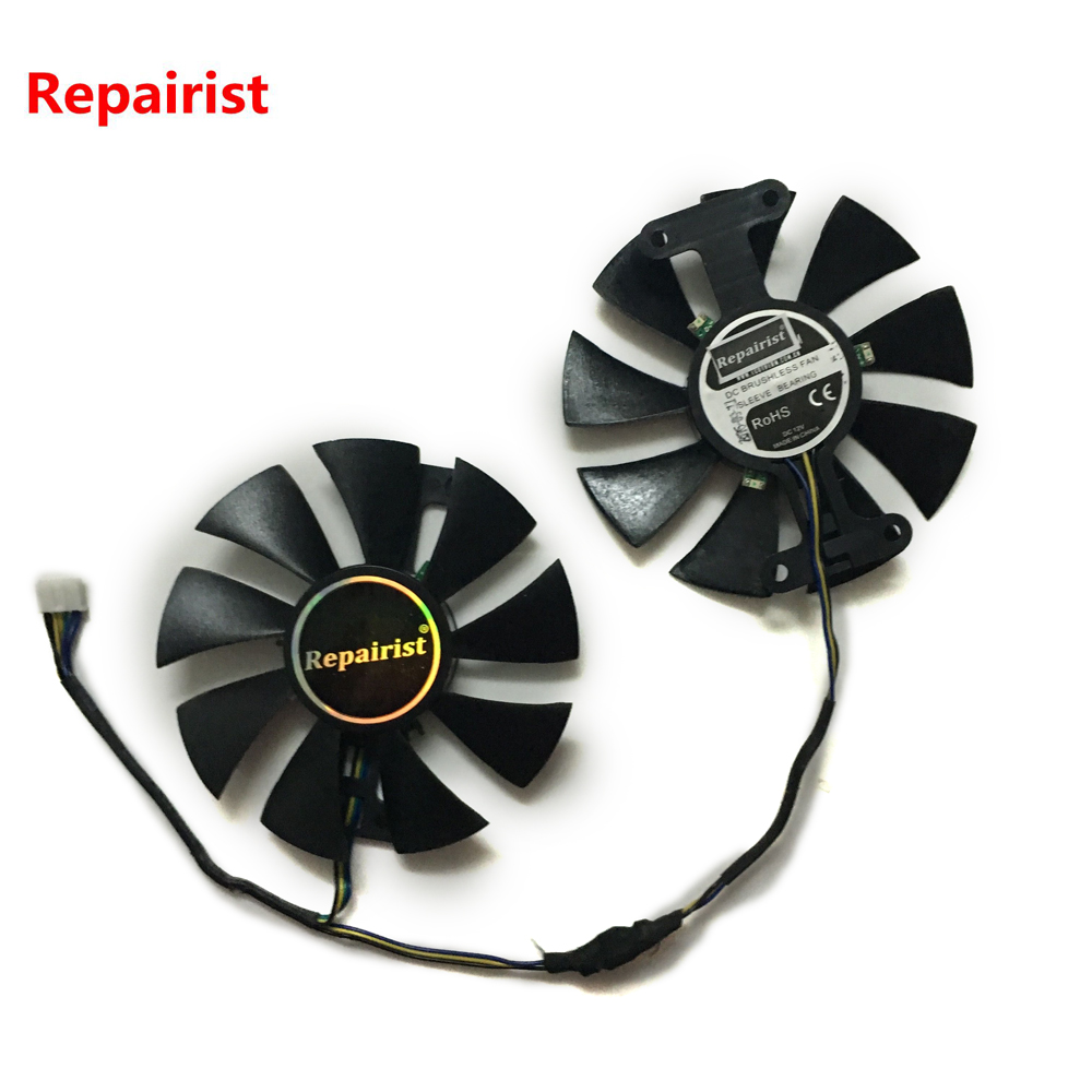 Repairist 2pcs/lot GTX1060 GPU Graphics cooler VGA fan For GALAXY GeForce GTX 1060 BIG TIGER General EDITION Video Card cooling ga8202u gaa8b2u 100mm 0 45a 4pin graphics card cooling fan vga cooler fans for sapphire r9 380 video card