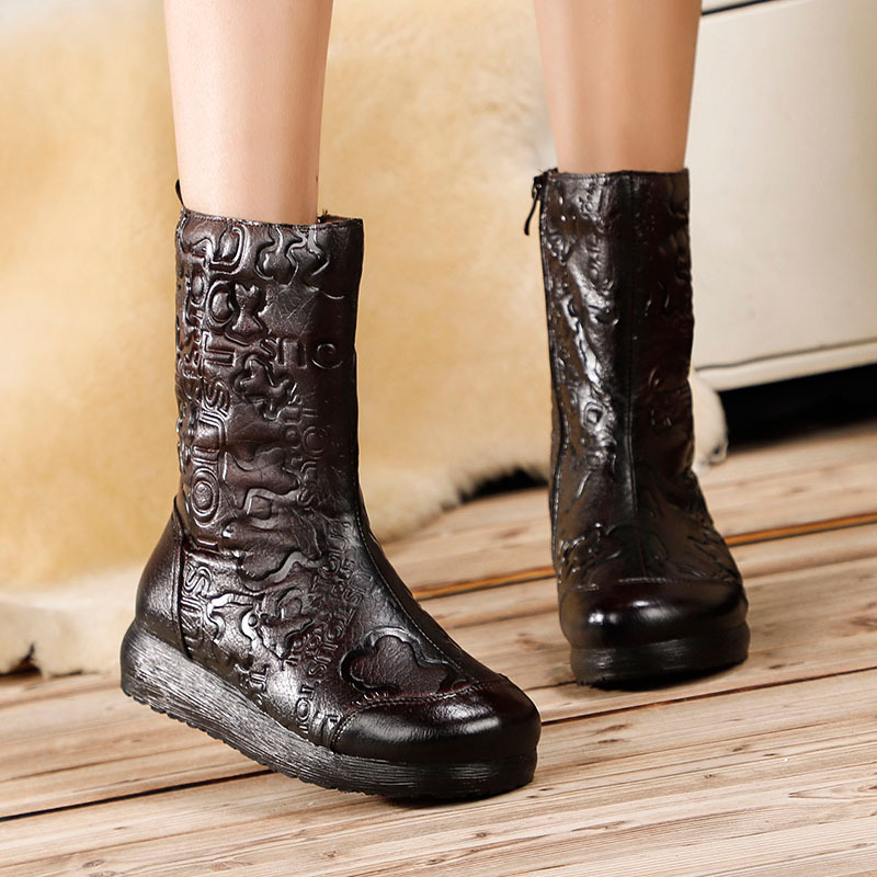 Women Genuine Leather Snow Boots Knight Style Embroidery Leather Winter Warm Shoes 4 CM Heels Wedge Boots Handmade Women Boots handmade quality custom sexy charm contracted style leather side zippers rivet women s knight boots