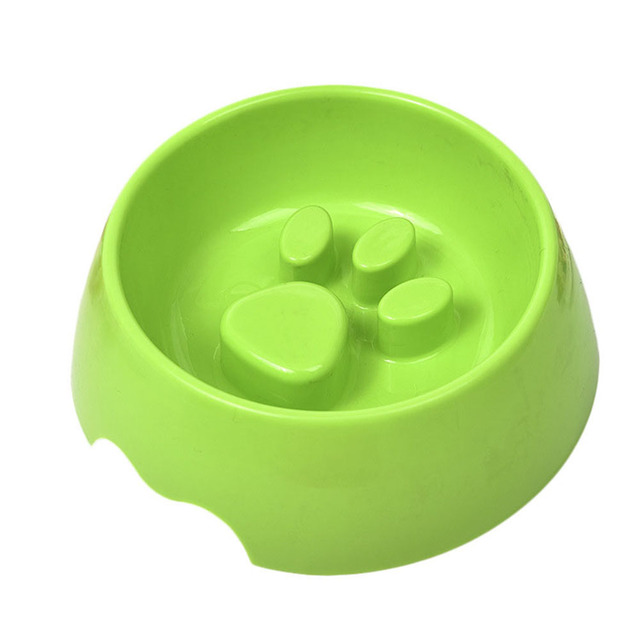 Raised Paw Print Slow Food Or Water Feeding Bowl for Dogs and Cats