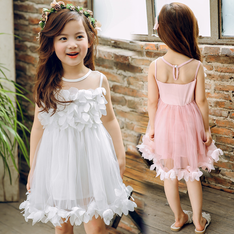 Girls Dresses 2018 New Summer Casual Mesh Girls Clothes Pink Princess Baby Girls Dress Regular Cotton Children Clothes Ds757