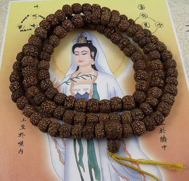 8mm Tibetan Buddhism 108 Old Vajra Bodhi Seeds Prayer Bead Mala Necklace