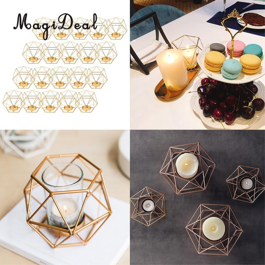 20 pièces fer fil 3D géométrique thé support de lumière bougeoir lanterne Table Top bureau étagère affichage fenêtre boîte Case