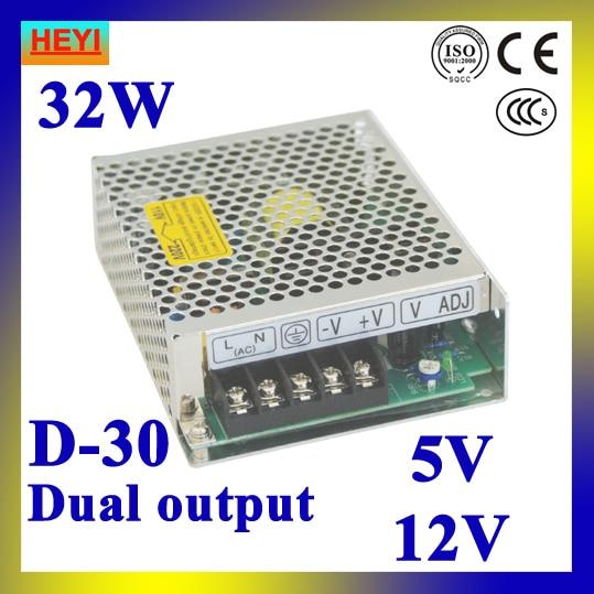 Dual output switching power supply 5V 12V 100~120V/200~240V input LED power supply 30W 5V 12V transformer 400w s400w 5v 75a led switching power supply 5v 75a 85 265ac input ce rosh power suply 36v output