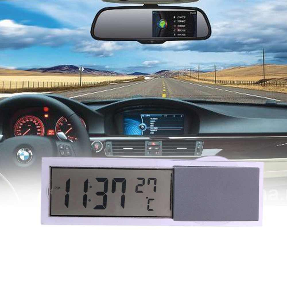 Mini 2 In 1 LCD Digital Auto Car Truck Clock + Thermometer With Suction Cup AG10 Button Cell Battery Operated