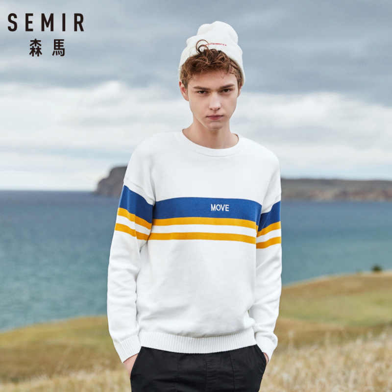 SEMIR Men 100% Cotton Color Block Rib Knit Sweater Embroidered Mens Pullover Sweater Ribbing at Neckline Cuff and Hem for Winter