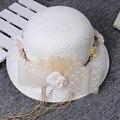 Linho do vintage Rendas Chapéus De Noiva 2016 Rendas Flores de Pérolas de Cristal Do Casamento Chapéus Véu De Noiva Acessórios Do Casamento