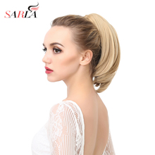 SARLA 10Pcs/Lot Short Ponytail Straight Synthetic Drawstring Hairpieces Resist High Temperature Hair Extension P003