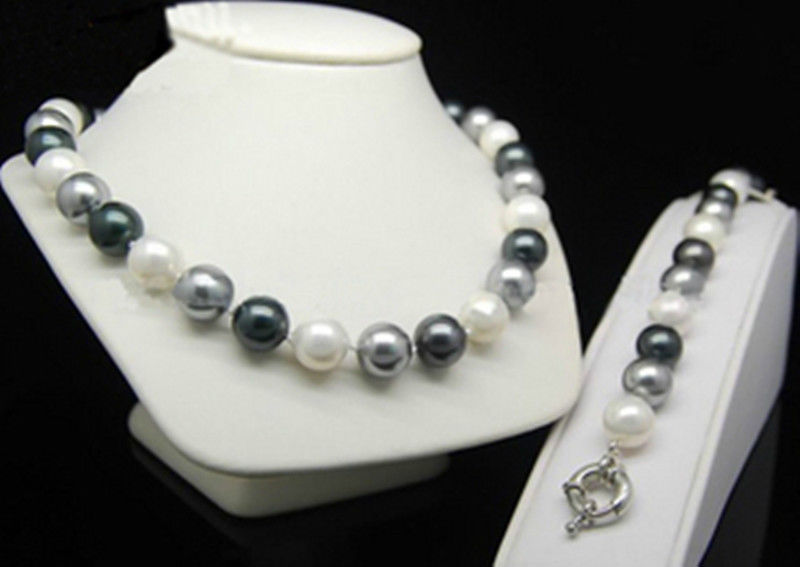 Round beads 3 color 12mm black Grey white shell Pearl bracelet Necklace 18