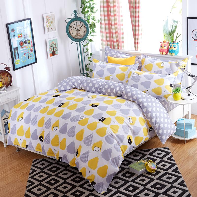 New Lemon Bedding Set Polyester Bed Sheets Duvet Cover Flat Bedspread Sets Home Textile Kids Bedroom